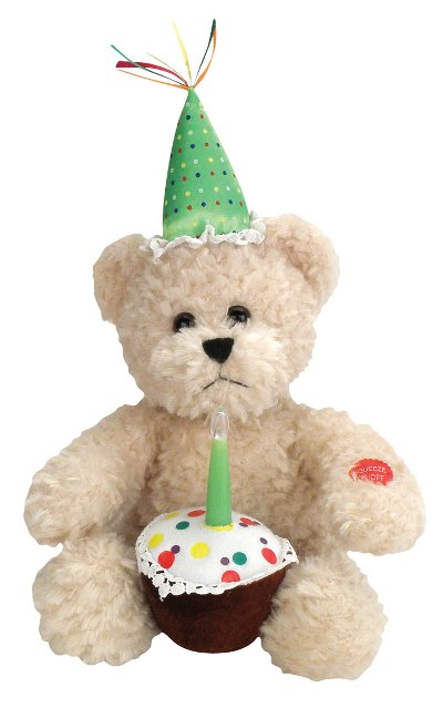 Blow Out Candle Bear With Cupcake Plush Battery Operated Toy